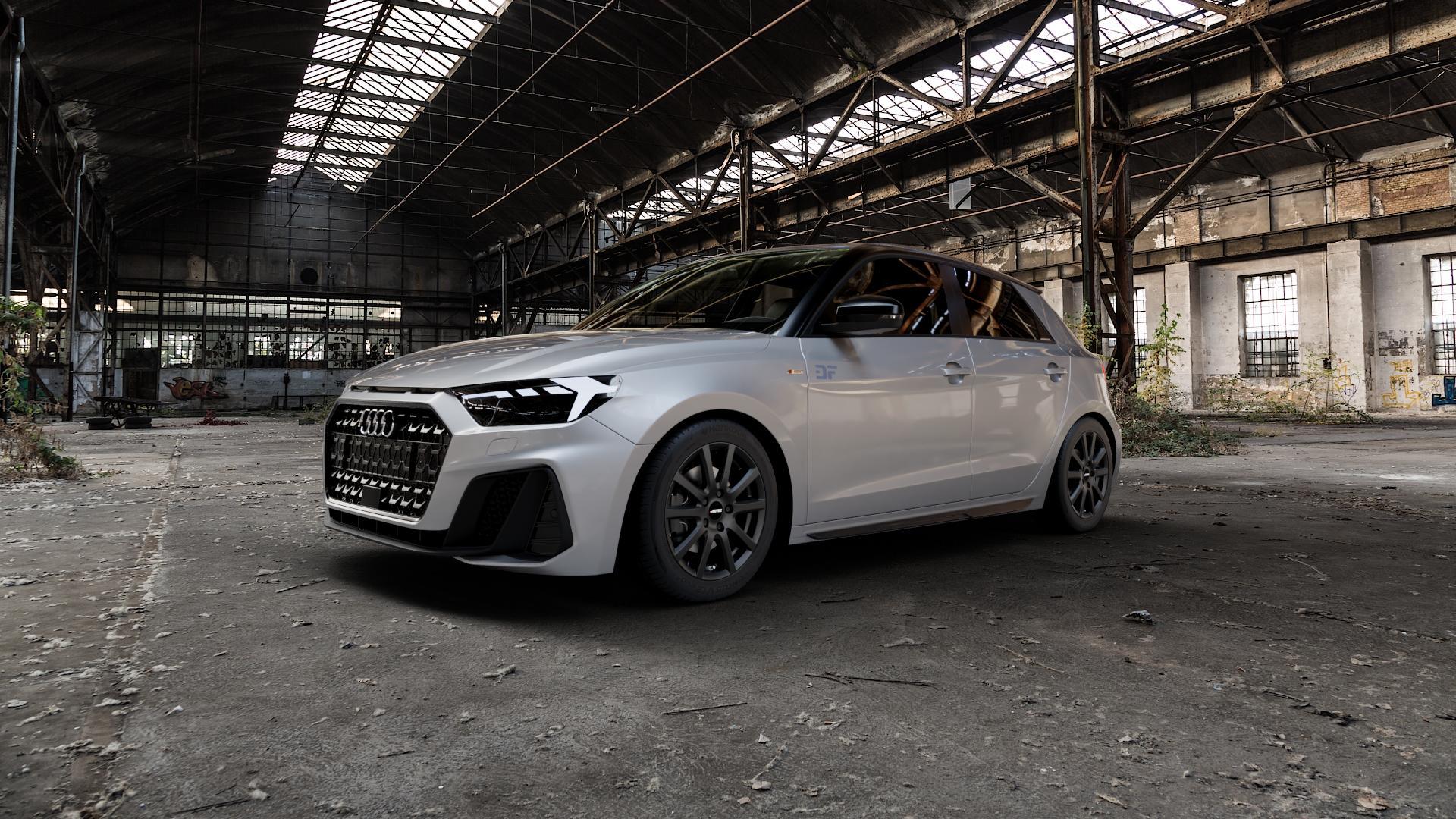 AUTEC Skandic Schwarz matt Felge mit Reifen in 16Zoll Winterfelge Alufelge auf silbernem Audi A1 Typ GB (Sportback) ⬇️ mit 15mm Tieferlegung ⬇️ Industriehalle 1 Camera_000