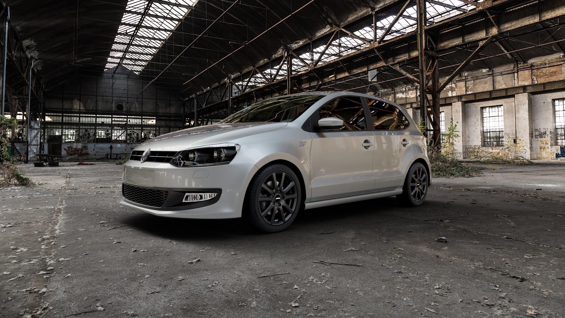 AUTEC Skandic Schwarz matt Felge mit Reifen in 16Zoll Winterfelge Alufelge auf silbernem Volkswagen (VW) Polo V Typ 6R ⬇️ mit 15mm Tieferlegung ⬇️ Industriehalle 1 Camera_000