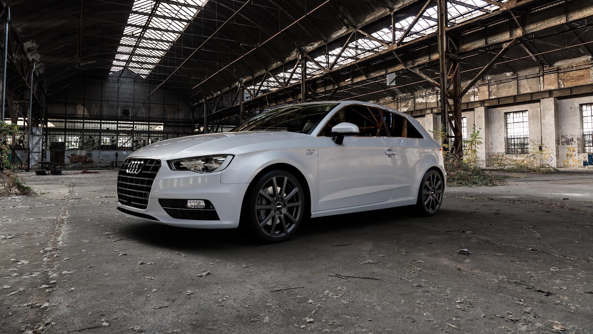 AUTEC Skandic Schwarz matt Felge mit Reifen in 18Zoll Winterfelge Alufelge auf silbernem Audi A3 Typ 8V ⬇️ mit 15mm Tieferlegung ⬇️ Industriehalle 1 Camera_000