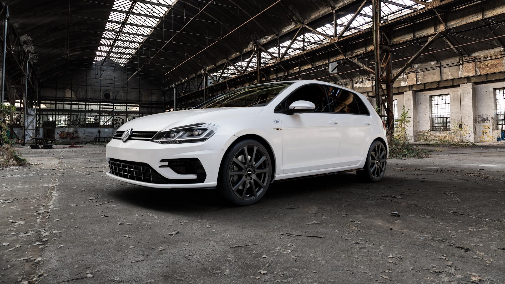 AUTEC Skandic Schwarz matt Felge mit Reifen in 18Zoll Winterfelge Alufelge auf weissem Volkswagen (VW) Golf 7 Facelift 2,0l R 4Motion 221kW (300 PS) ⬇️ mit 15mm Tieferlegung ⬇️ Industriehalle 1 Camera_000