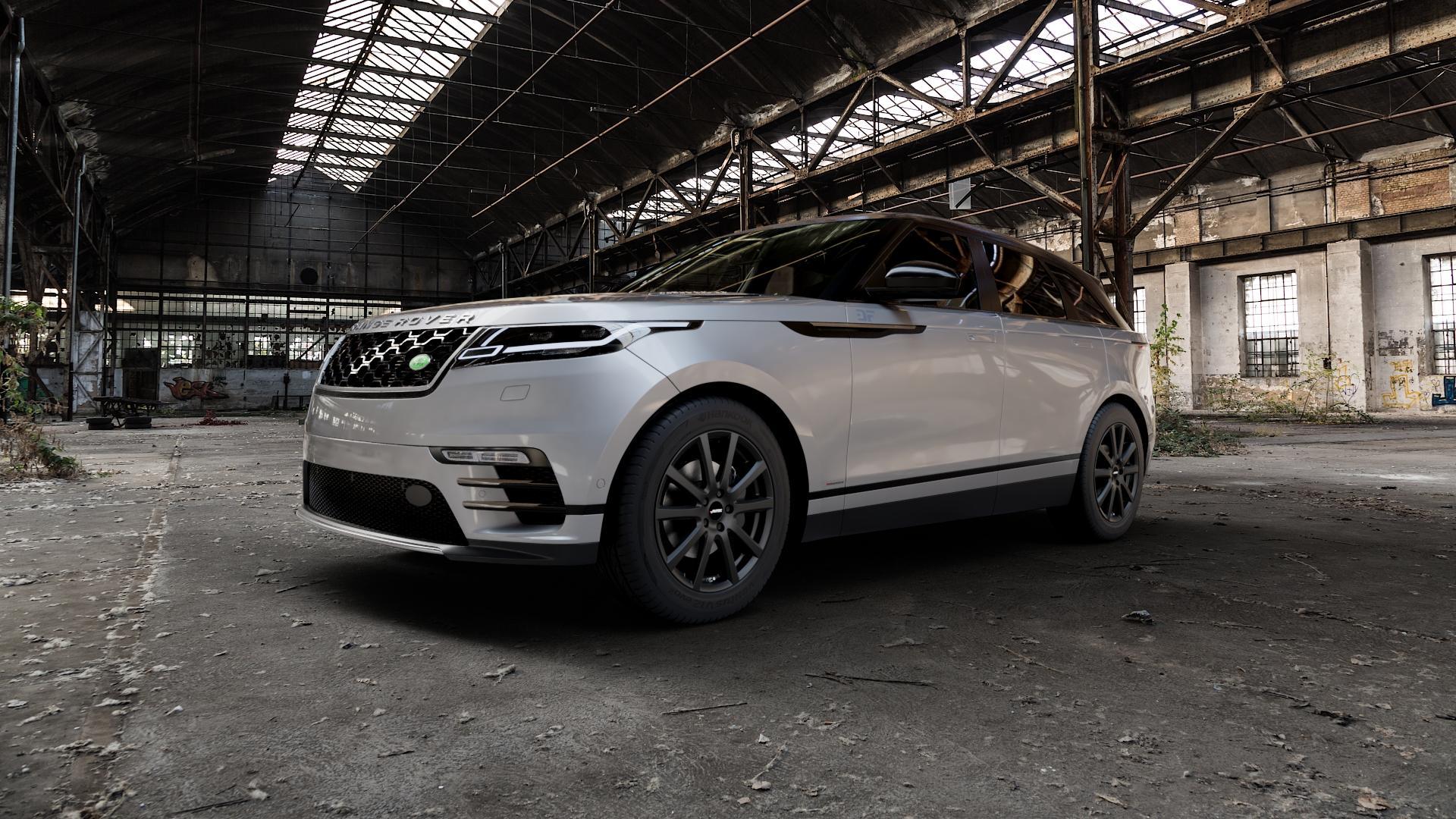 AUTEC Skandic Schwarz matt Felge mit Reifen in 19Zoll Winterfelge Alufelge auf silbernem Land Rover Range Velar Typ LY ⬇️ mit 15mm Tieferlegung ⬇️ Industriehalle 1 Camera_000