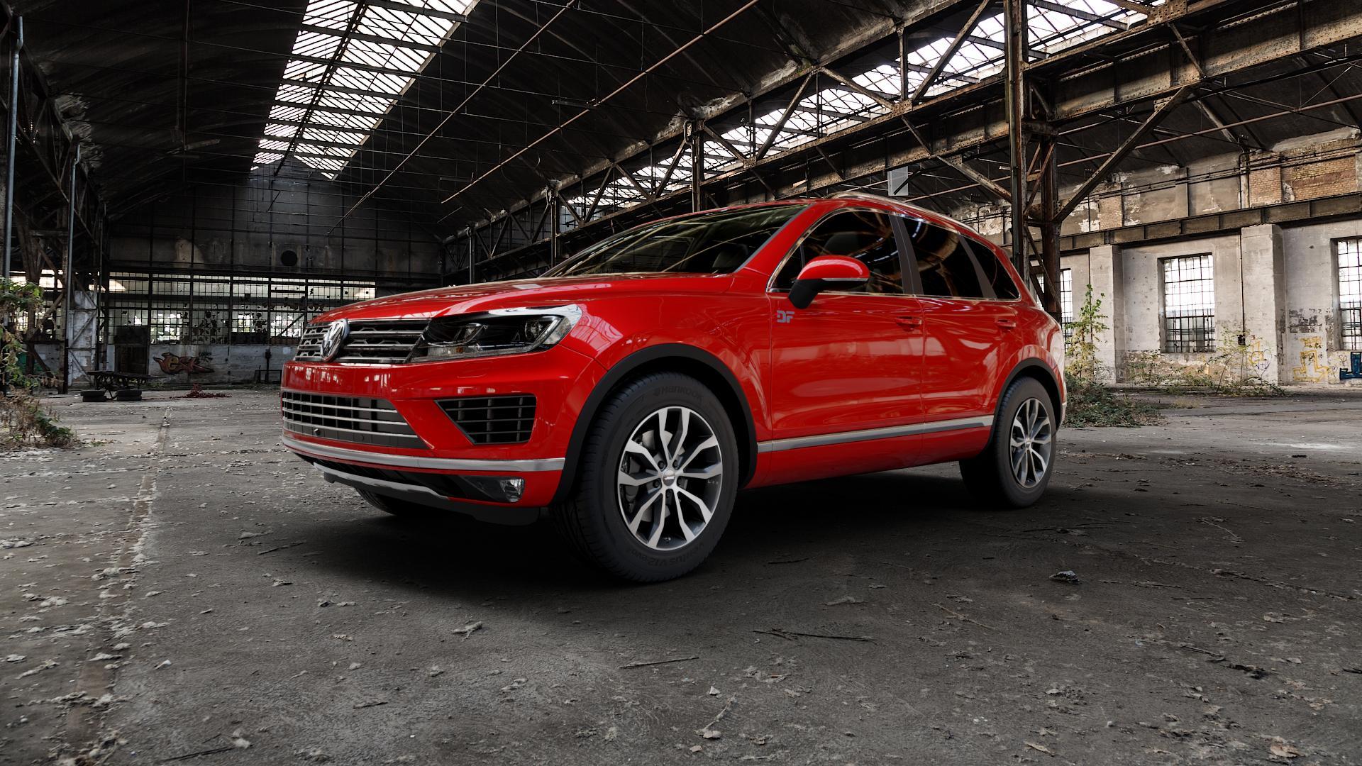 AUTEC Uteca Schwarz poliert Felge mit Reifen in 18Zoll Alufelge auf rotem Volkswagen (VW) Touareg II Typ 7P Facelift ⬇️ mit 15mm Tieferlegung ⬇️ Industriehalle 1 Camera_000
