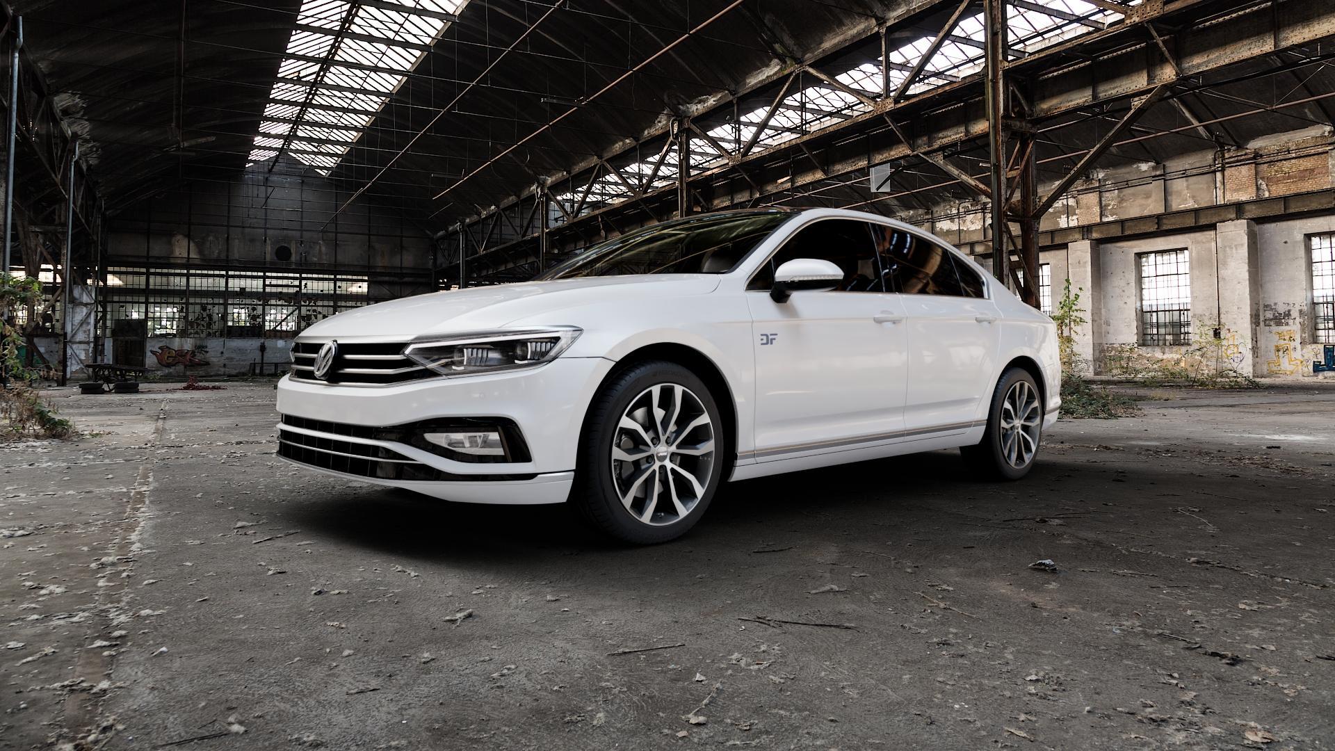 AUTEC Uteca Schwarz poliert Felge mit Reifen in 18Zoll Alufelge auf weissem Volkswagen (VW) Passat 3C/B8 Limousine Facelift ⬇️ mit 15mm Tieferlegung ⬇️ Industriehalle 1 Camera_000