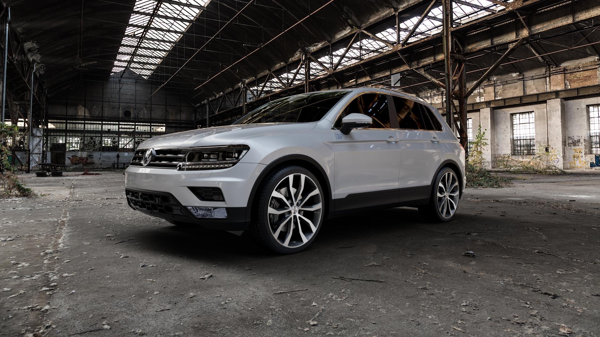 AUTEC Uteca Schwarz poliert Felge mit Reifen in 21Zoll Alufelge auf silbernem Volkswagen (VW) Tiguan II Typ 5N ⬇️ mit 15mm Tieferlegung ⬇️ Industriehalle 1 Camera_000