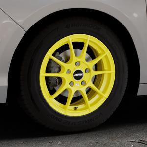 AUTEC Wizard Atomic Yellow Felge mit Reifen gelb in 15Zoll Winterfelge Alufelge auf silbernem Citroen C4 Typ N ⬇️ mit 15mm Tieferlegung ⬇️ Industriehalle 1 Thumbnail