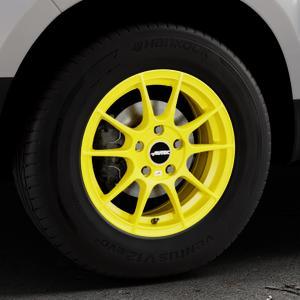 AUTEC Wizard Atomic Yellow Felge mit Reifen gelb in 15Zoll Winterfelge Alufelge auf silbernem Dacia Duster Typ SD ⬇️ mit 15mm Tieferlegung ⬇️ Industriehalle 1 Thumbnail