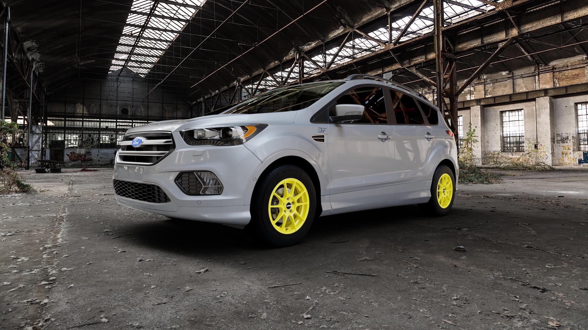 AUTEC Wizard Atomic Yellow Felge mit Reifen gelb in 16Zoll Winterfelge Alufelge auf silbernem Ford Kuga II Facelift (15->) (17->) ⬇️ mit 15mm Tieferlegung ⬇️ Industriehalle 1 Camera_000
