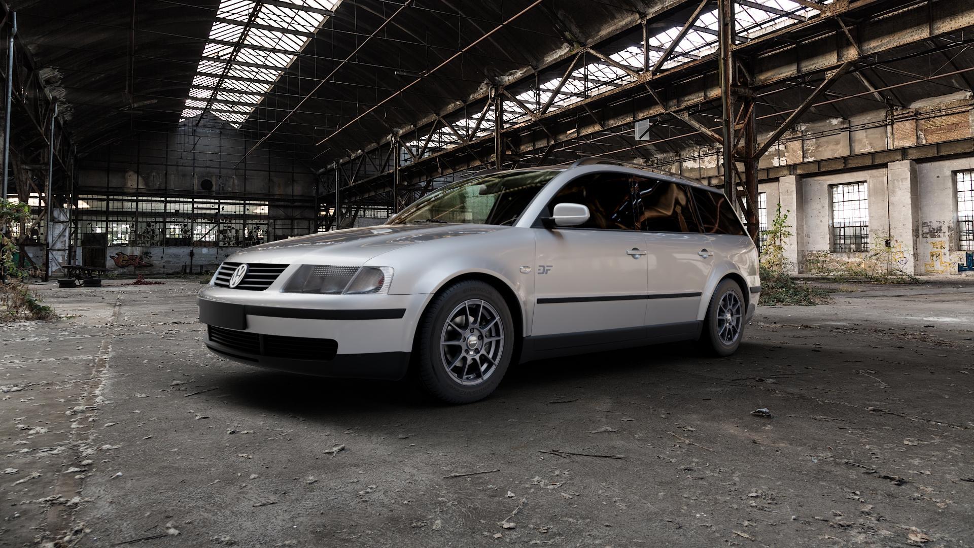 AUTEC Wizard Gunmetal matt Felge mit Reifen grau in 15Zoll Winterfelge Alufelge auf silbernem Volkswagen (VW) Passat 3B Limousine Variant ⬇️ mit 15mm Tieferlegung ⬇️ Industriehalle 1 Camera_000