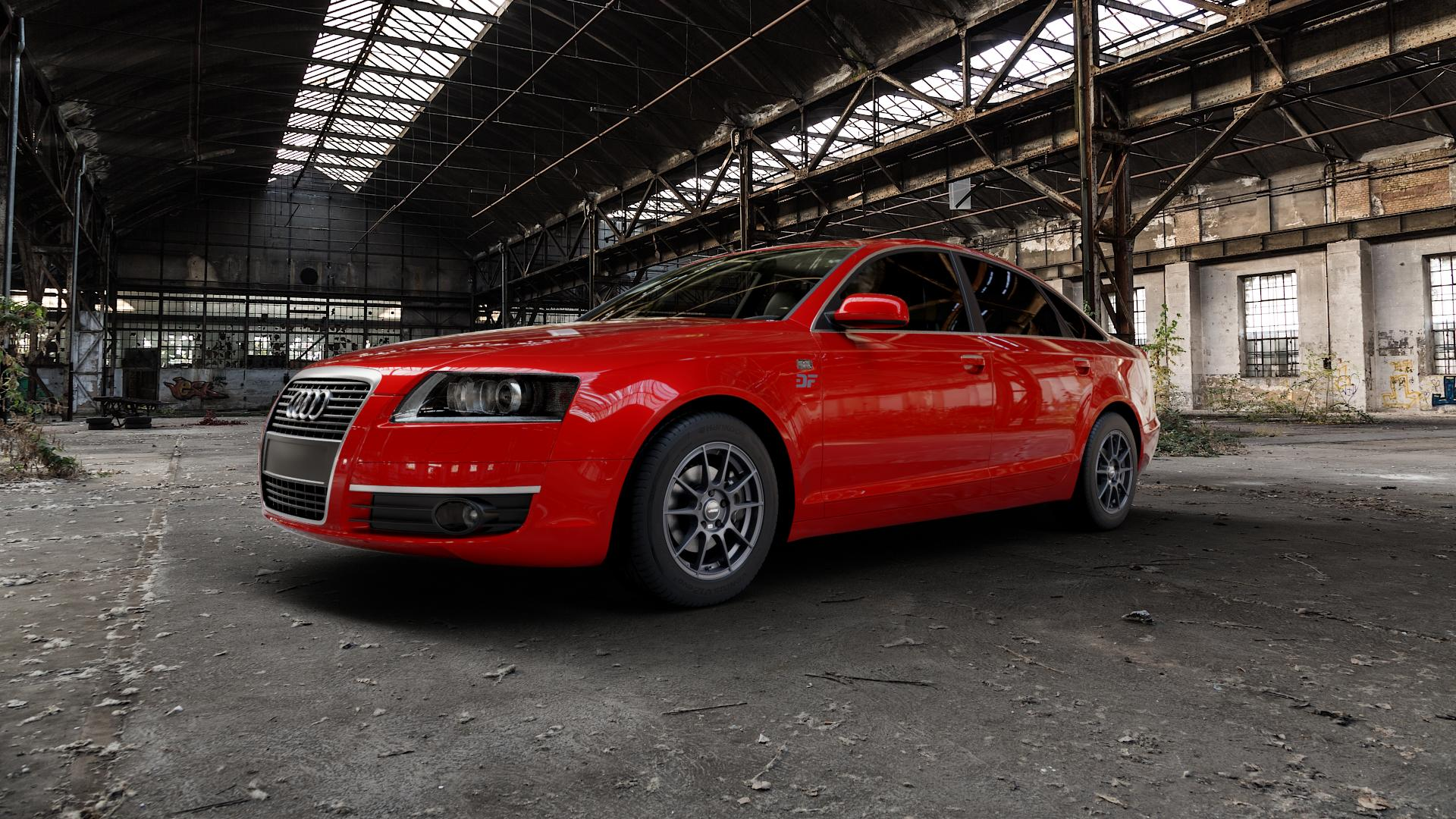 AUTEC Wizard Gunmetal matt Felge mit Reifen grau in 16Zoll Winterfelge Alufelge auf rotem Audi A6 Typ 4F/C6 (Limousine) ⬇️ mit 15mm Tieferlegung ⬇️ Industriehalle 1 Camera_000