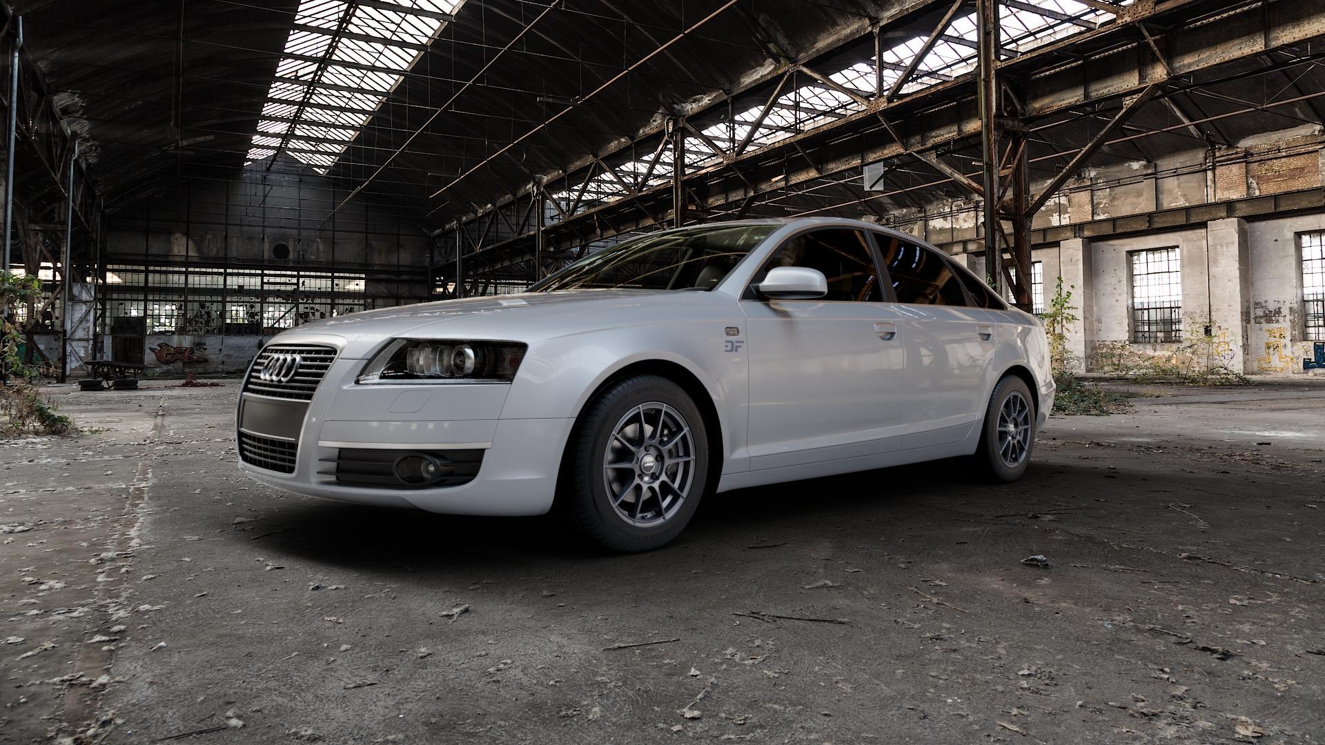 AUTEC Wizard Gunmetal matt Felge mit Reifen grau in 16Zoll Winterfelge Alufelge auf silbernem Audi A6 Typ 4F/C6 (Limousine) ⬇️ mit 15mm Tieferlegung ⬇️ Industriehalle 1 Camera_000