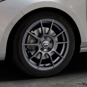 AUTEC Wizard Gunmetal matt Felge mit Reifen grau in 16Zoll Winterfelge Alufelge auf silbernem Ford Fiesta VII Typ JHH ⬇️ mit 15mm Tieferlegung ⬇️ Industriehalle 1 Thumbnail