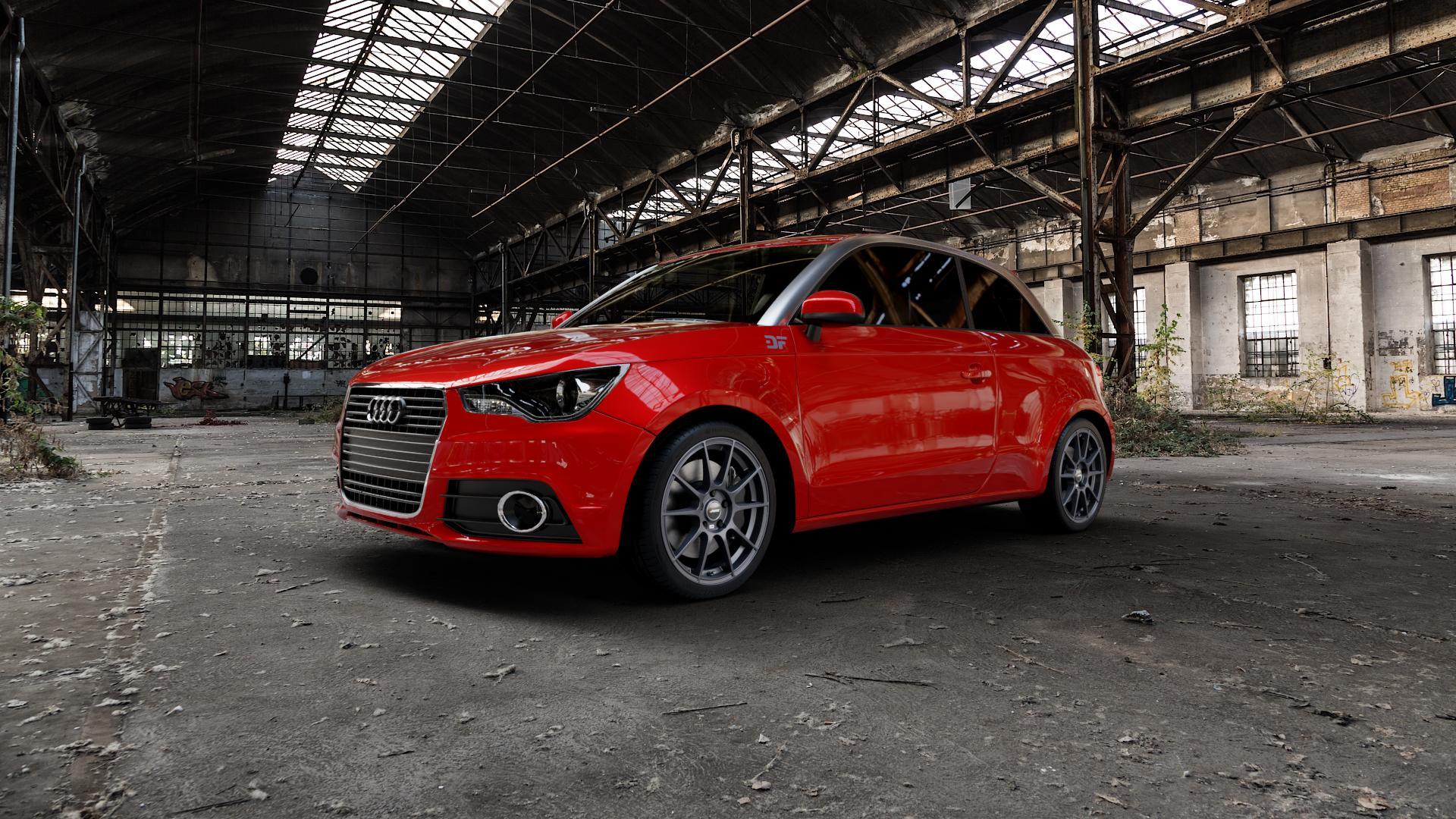 AUTEC Wizard Gunmetal matt Felge mit Reifen grau in 17Zoll Winterfelge Alufelge auf rotem Audi A1 Typ 8X ⬇️ mit 15mm Tieferlegung ⬇️ Industriehalle 1 Camera_000