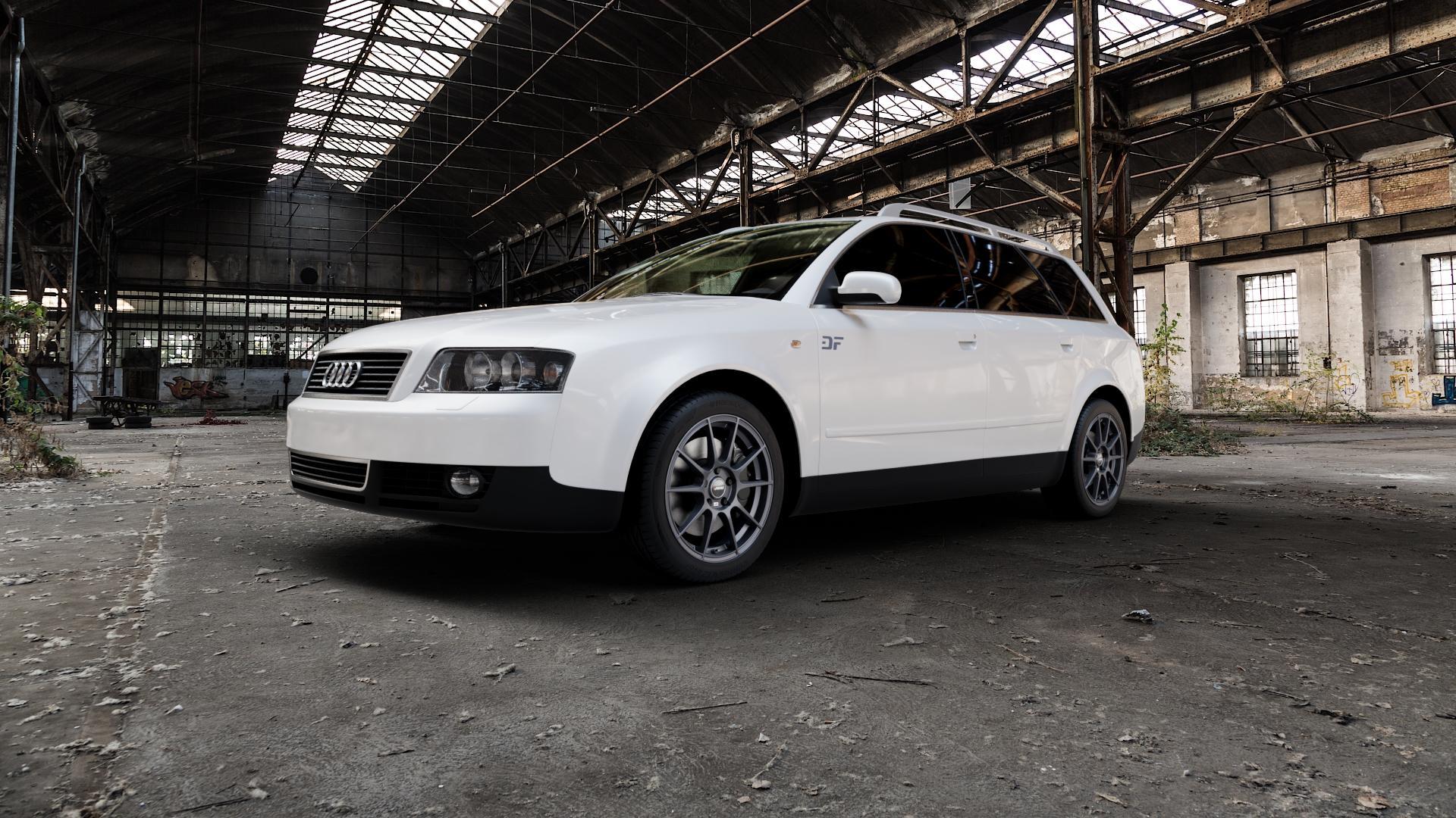 AUTEC Wizard Gunmetal matt Felge mit Reifen grau in 17Zoll Winterfelge Alufelge auf weissem Audi A4 Typ 8E5/B6 (Avant) ⬇️ mit 15mm Tieferlegung ⬇️ Industriehalle 1 Camera_000