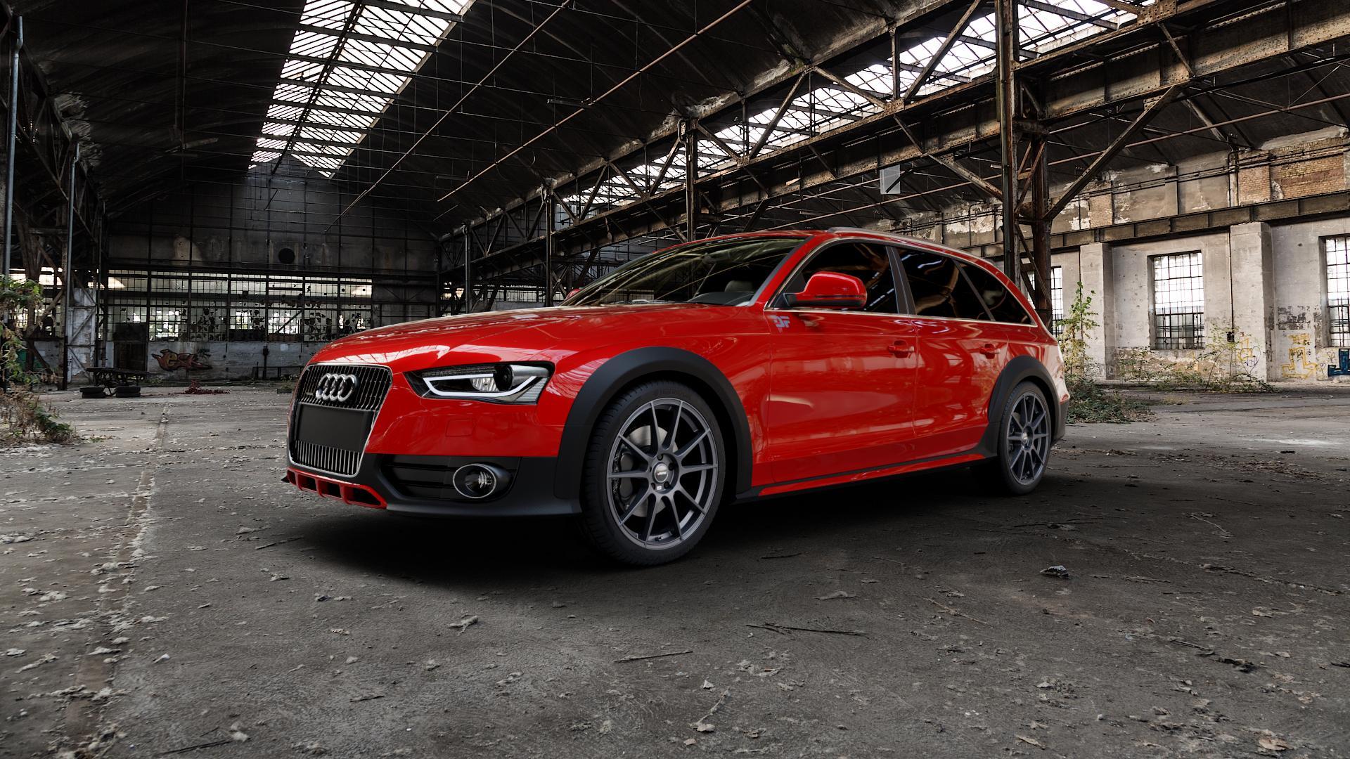 AUTEC Wizard Gunmetal matt Felge mit Reifen grau in 19Zoll Winterfelge Alufelge auf rotem Audi A4 Typ 8KH/B8 Allroad ⬇️ mit 15mm Tieferlegung ⬇️ Industriehalle 1 Camera_000