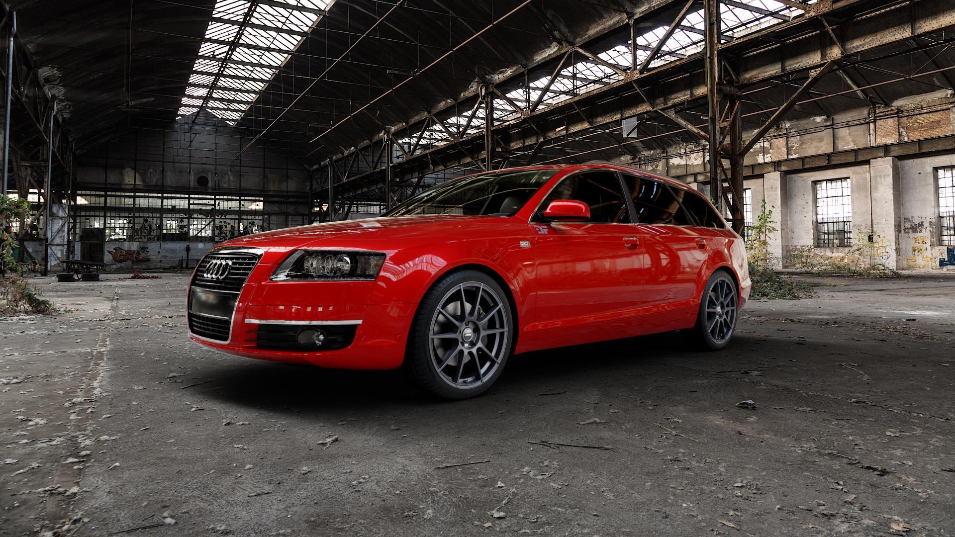 AUTEC Wizard Gunmetal matt Felge mit Reifen grau in 19Zoll Winterfelge Alufelge auf rotem Audi A6 Typ 4F/C6 (Avant) ⬇️ mit 15mm Tieferlegung ⬇️ Industriehalle 1 Camera_000