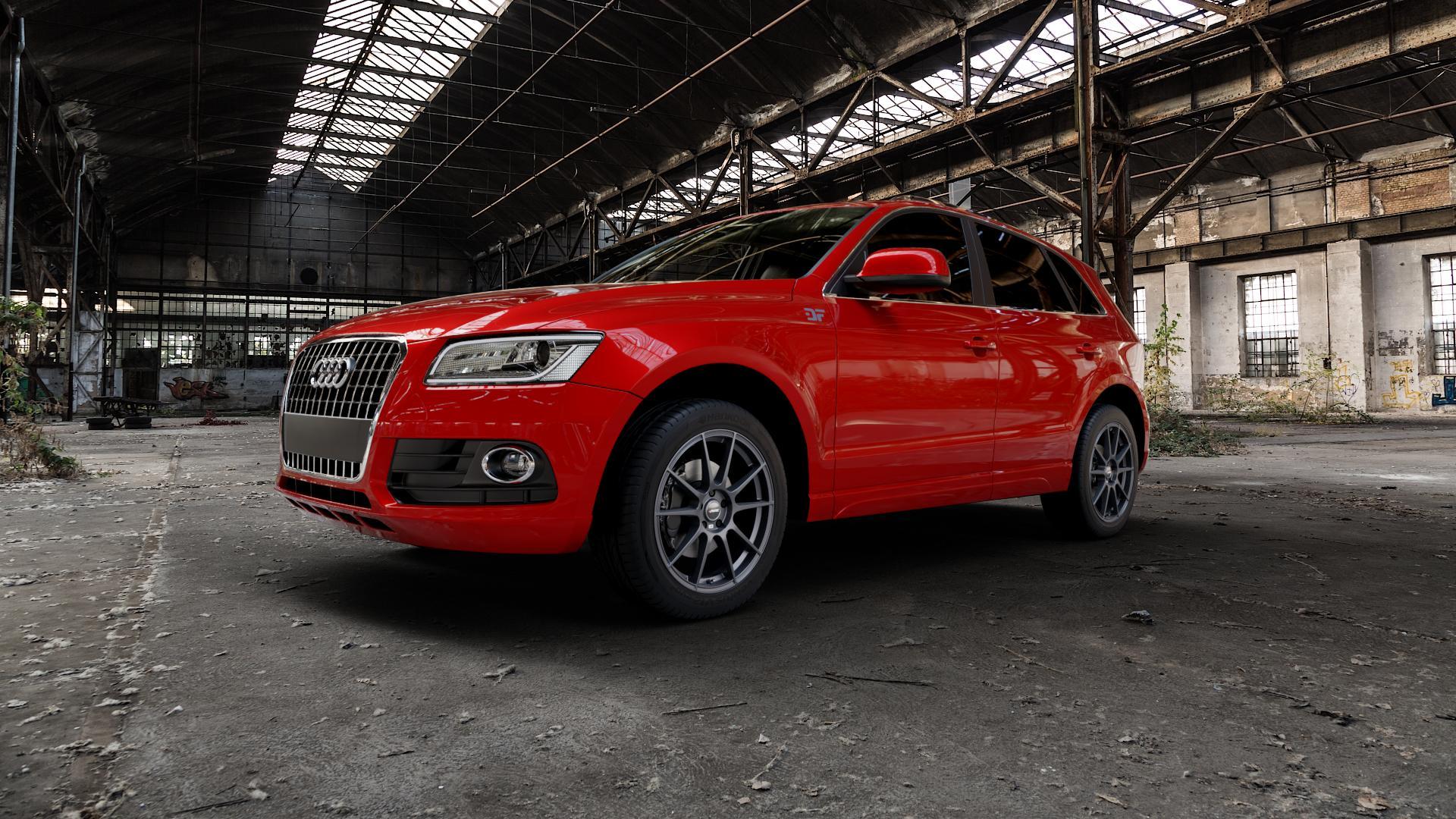 AUTEC Wizard Gunmetal matt Felge mit Reifen grau in 19Zoll Winterfelge Alufelge auf rotem Audi Q5 I Typ 8R ⬇️ mit 15mm Tieferlegung ⬇️ Industriehalle 1 Camera_000