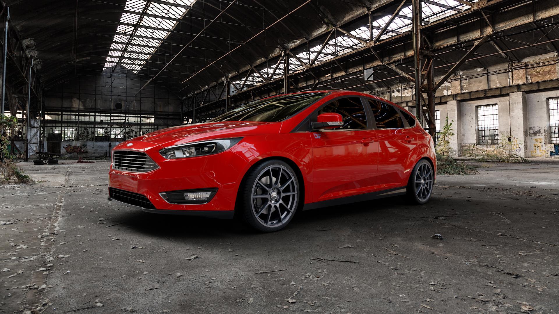 AUTEC Wizard Gunmetal matt Felge mit Reifen grau in 19Zoll Winterfelge Alufelge auf rotem Ford Focus III Typ DYB Facelift (Schrägheck) ⬇️ mit 15mm Tieferlegung ⬇️ Industriehalle 1 Camera_000