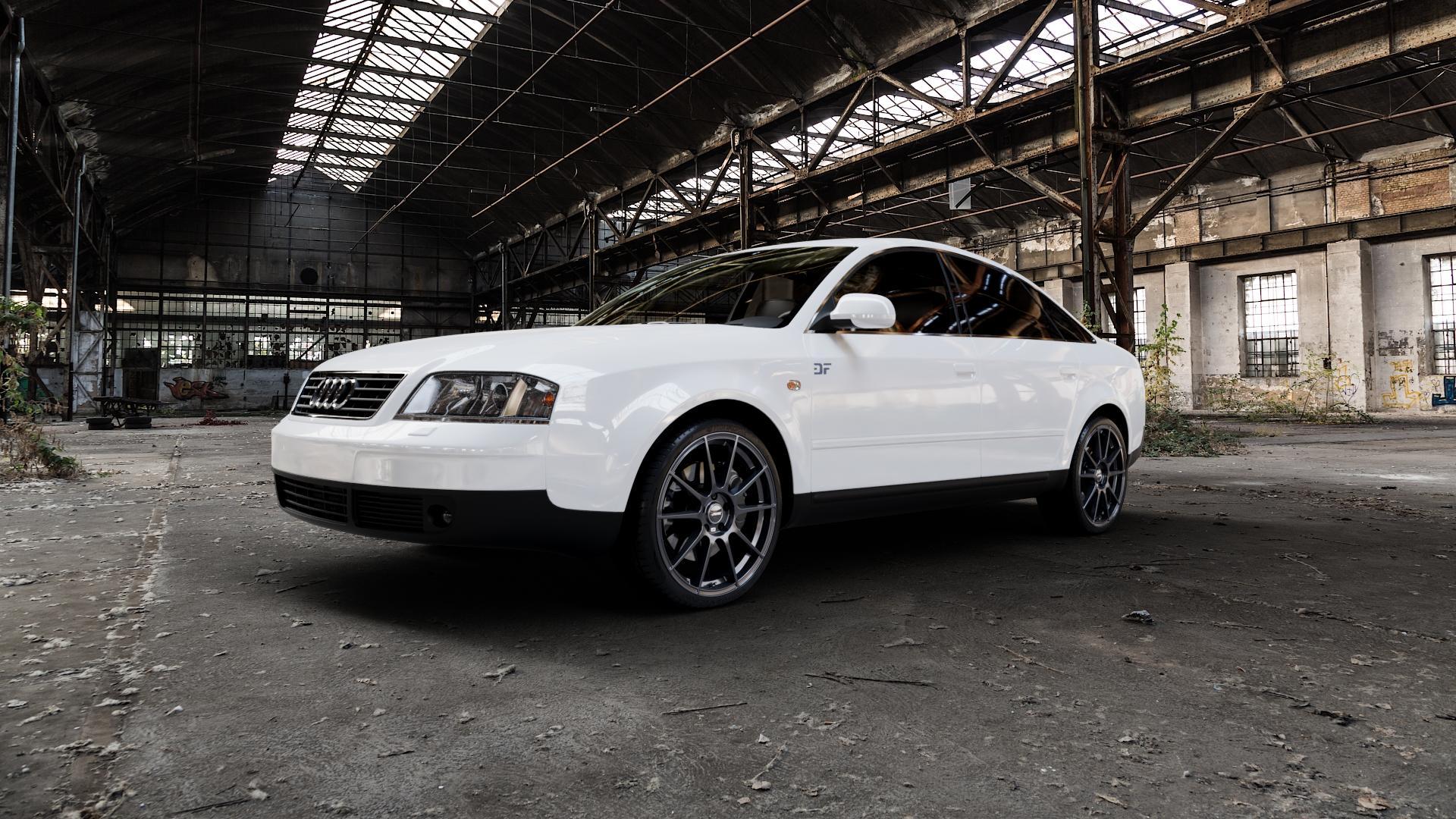 AUTEC Wizard Gunmetal matt Felge mit Reifen grau in 19Zoll Winterfelge Alufelge auf weissem Audi A6 Typ 4B/C5 (Limousine) ⬇️ mit 15mm Tieferlegung ⬇️ Industriehalle 1 Camera_000