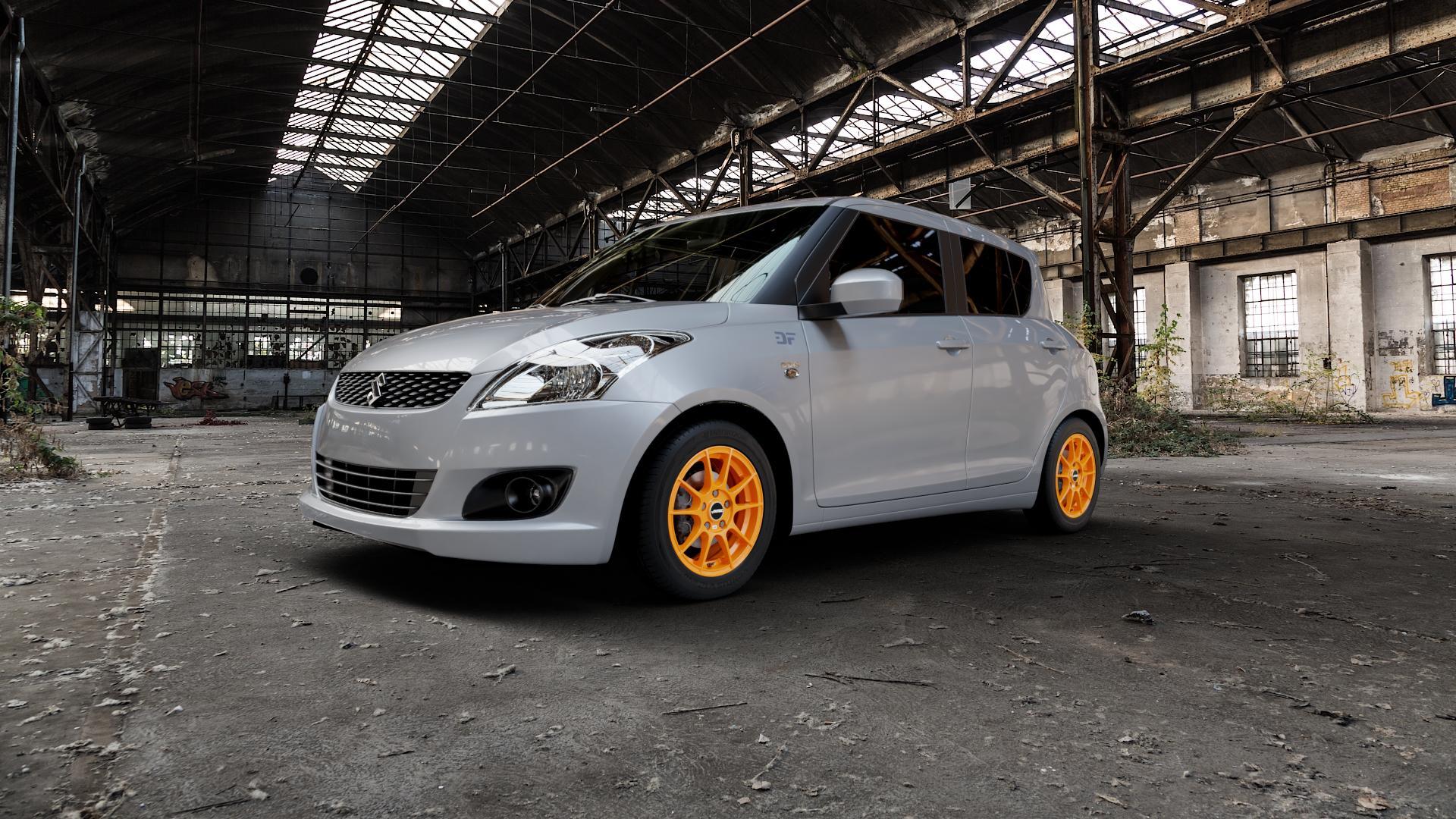 AUTEC Wizard Racing orange Felge mit Reifen in 15Zoll Winterfelge Alufelge auf silbernem Suzuki Swift V Typ NZ FZ ⬇️ mit 15mm Tieferlegung ⬇️ Industriehalle 1 Camera_000