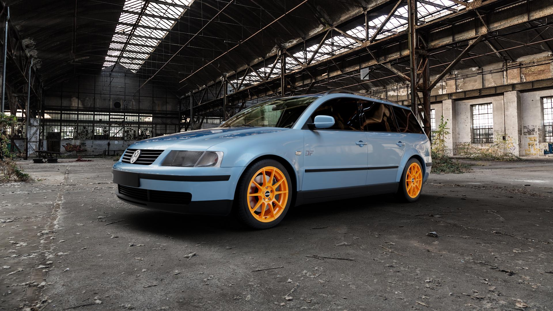 AUTEC Wizard Racing orange Felge mit Reifen in 17Zoll Winterfelge Alufelge auf hellblau Volkswagen (VW) Passat 3B Limousine Variant ⬇️ mit 15mm Tieferlegung ⬇️ Industriehalle 1 Camera_000
