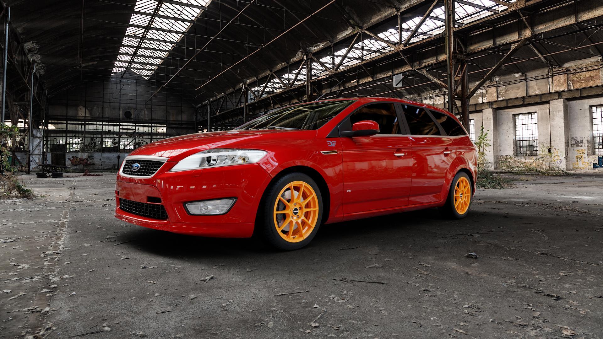 AUTEC Wizard Racing orange Felge mit Reifen in 17Zoll Winterfelge Alufelge auf rotem Ford Mondeo IV Limousine Typ BA7 Turnier Fließheck ⬇️ mit 15mm Tieferlegung ⬇️ Industriehalle 1 Camera_000