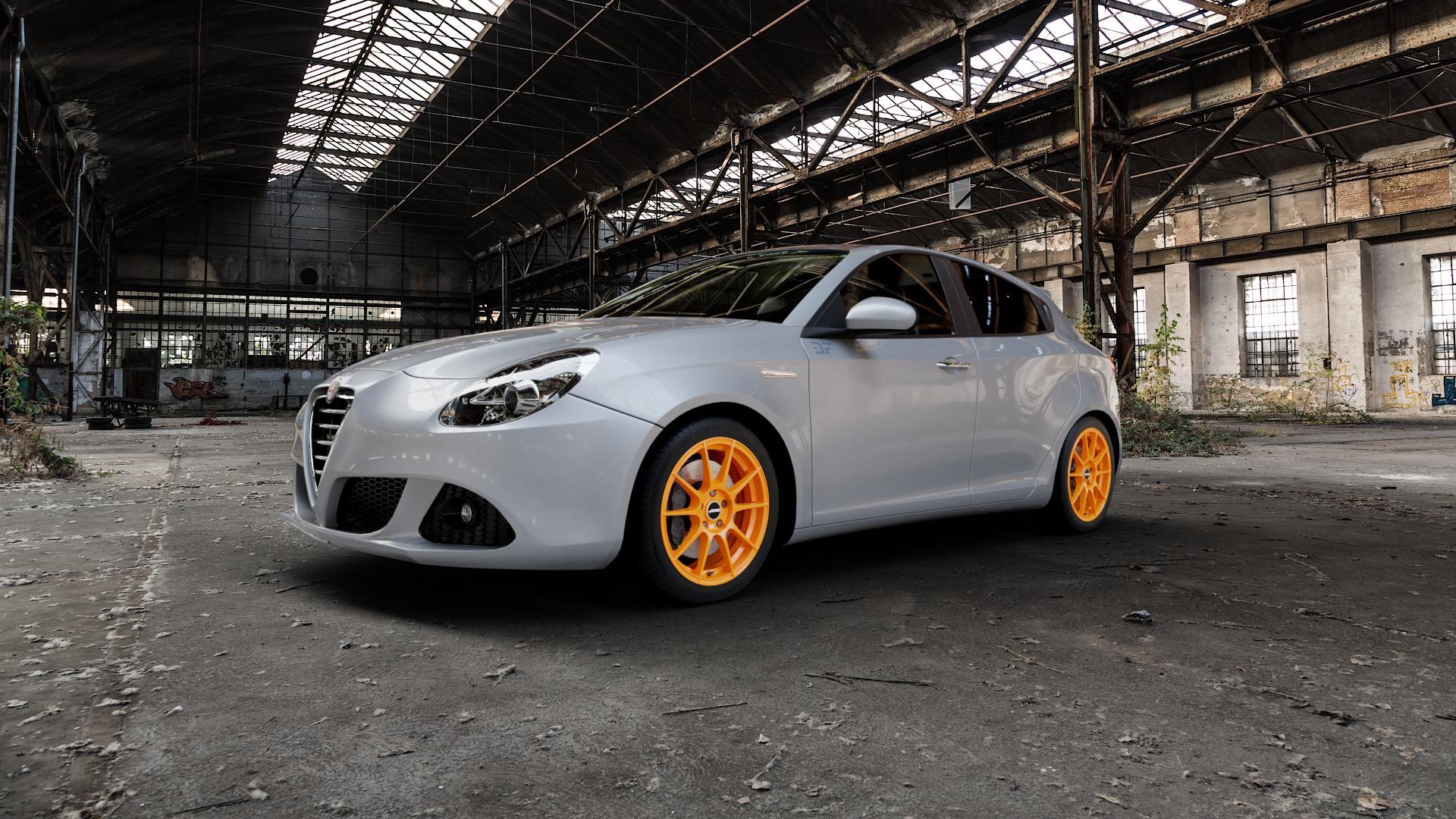 AUTEC Wizard Racing orange Felge mit Reifen in 17Zoll Winterfelge Alufelge auf silbernem Alfa Romeo Giulietta Typ 940 ⬇️ mit 15mm Tieferlegung ⬇️ Industriehalle 1 Camera_000