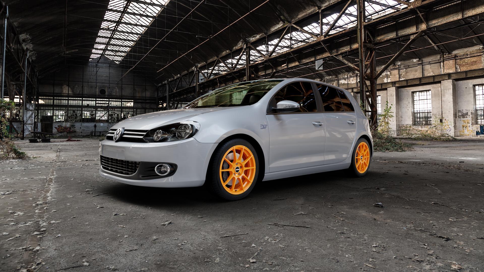 AUTEC Wizard Racing orange Felge mit Reifen in 17Zoll Winterfelge Alufelge auf silbernem Volkswagen (VW) Golf 6 1,4l 59kW (80 PS) 1,6l 75kW (102 TDI 77kW (105 2,0l 81kW (110 TSI 90kW (122 103kW (140 4motion 118kW (160 1,2l 63kW (86 1,8l 66kW (90 BiFuel ⬇️ mit 15mm Tieferlegung ⬇️ Industriehalle 1 Camera_000