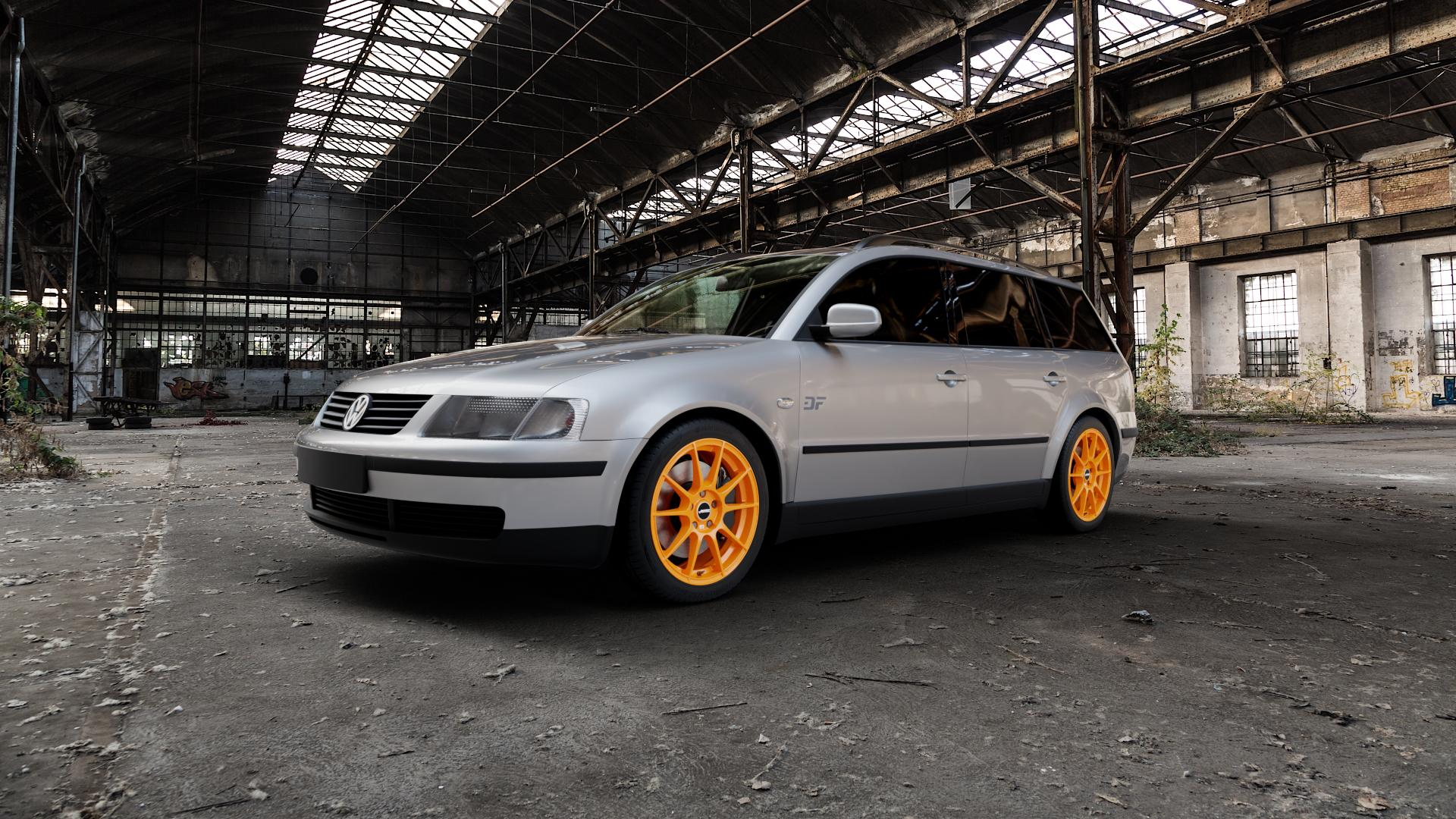 AUTEC Wizard Racing orange Felge mit Reifen in 17Zoll Winterfelge Alufelge auf silbernem Volkswagen (VW) Passat 3B Limousine Variant ⬇️ mit 15mm Tieferlegung ⬇️ Industriehalle 1 Camera_000