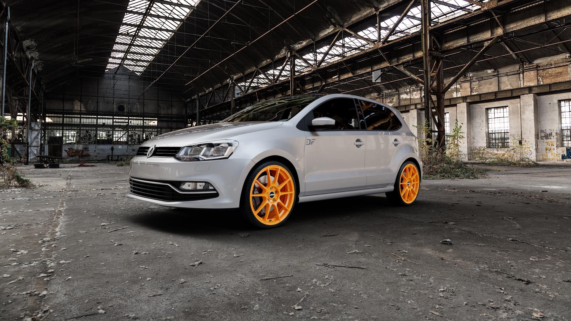 AUTEC Wizard Racing orange Felge mit Reifen in 18Zoll Winterfelge Alufelge auf silbernem Volkswagen (VW) Polo V Typ 6C 1,0l 44kW (60 PS) 55kW (75 1,2l TSI 66kW (90 81kW (110 1,4l TDI 77kW (105 110kW (150 70kW (95 ⬇️ mit 15mm Tieferlegung ⬇️ Industriehalle 1 Camera_000