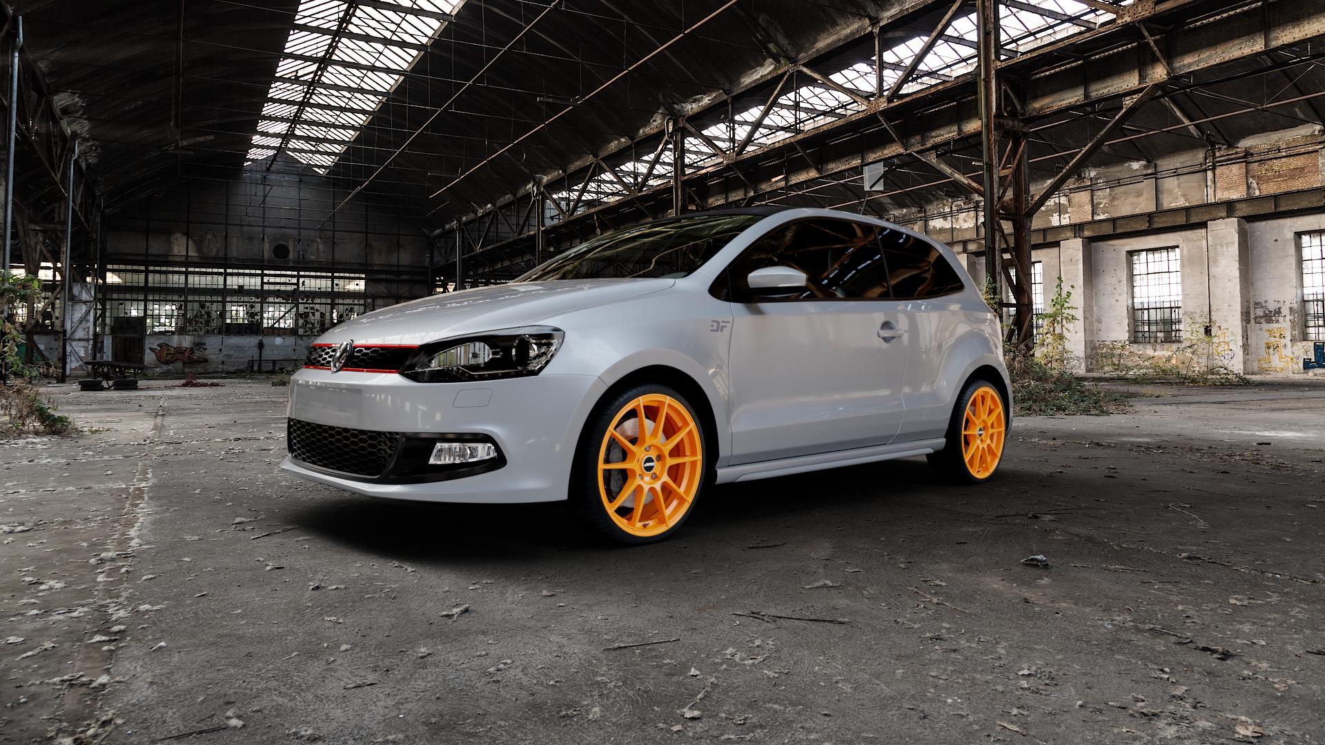 AUTEC Wizard Racing orange Felge mit Reifen in 18Zoll Winterfelge Alufelge auf silbernem Volkswagen (VW) Polo V Typ 6C 1,8l GTI 141kW (192 PS) ⬇️ mit 15mm Tieferlegung ⬇️ Industriehalle 1 Camera_000