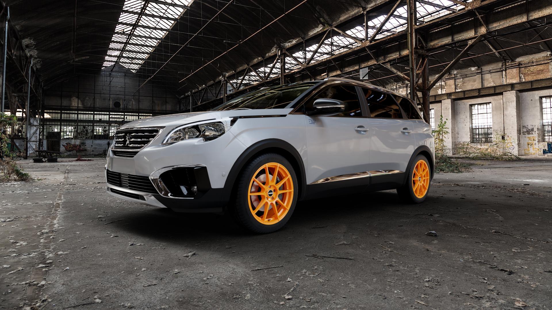 AUTEC Wizard Racing orange Felge mit Reifen in 19Zoll Winterfelge Alufelge auf silbernem Peugeot 5008 Typ M ⬇️ mit 15mm Tieferlegung ⬇️ Industriehalle 1 Camera_000