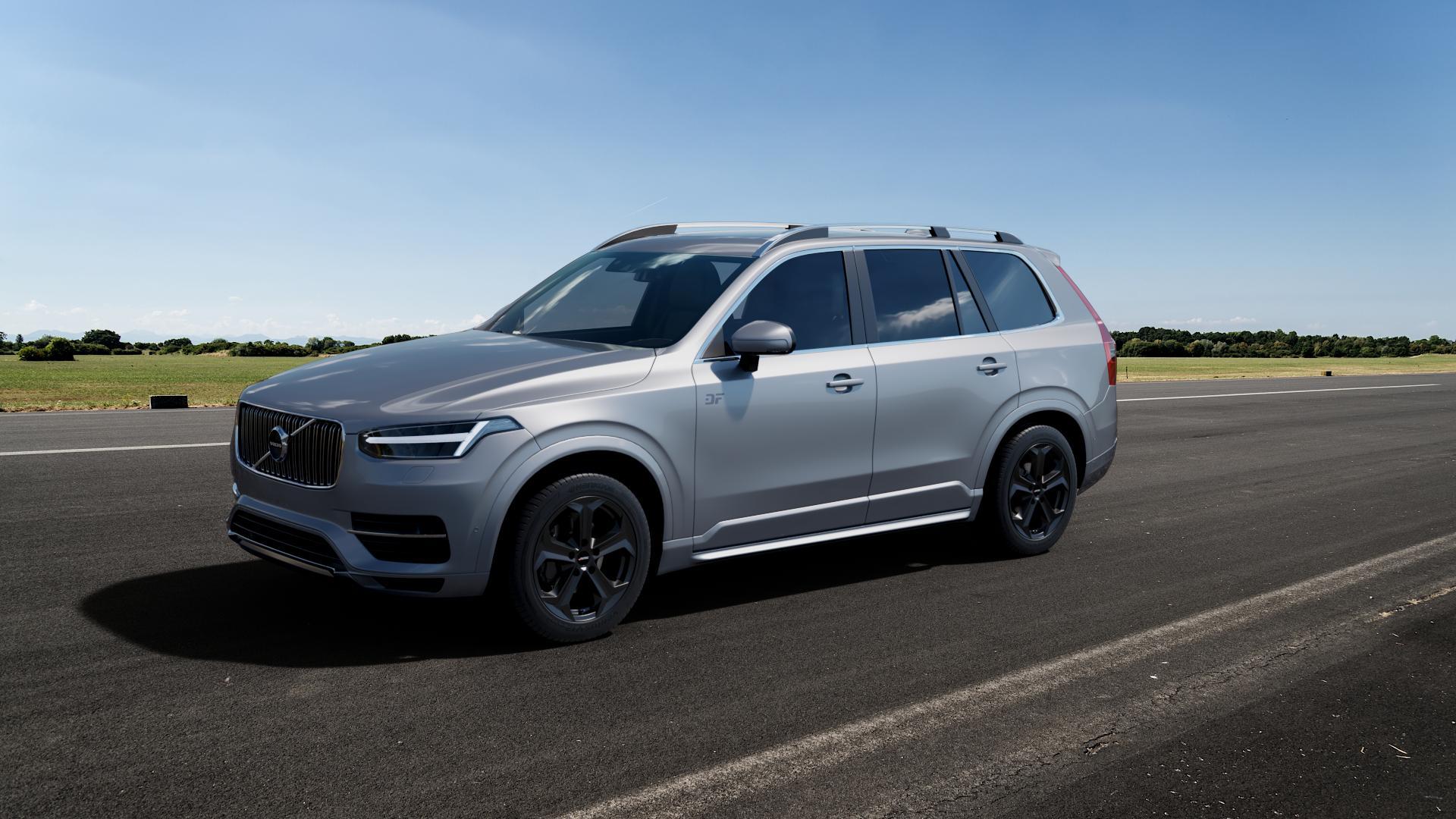 AUTEC Xenos Schwarz matt Felge mit Reifen in 19Zoll Winterfelge Alufelge auf silbernem Volvo XC90 II Typ L ⬇️ mit 15mm Tieferlegung ⬇️ Big_Vehicle_Airstrip_1 Frontansicht_1