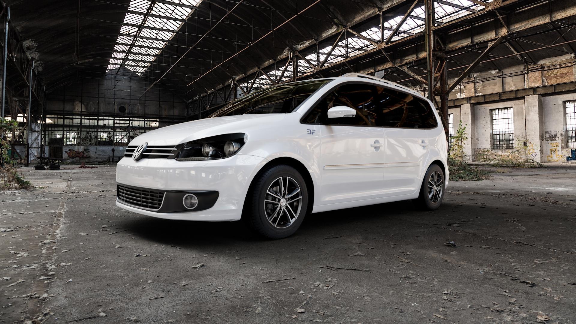 AUTEC Yucon Schwarz poliert Felge mit Reifen mehrfarbig in 15Zoll Alufelge auf weissem Volkswagen (VW) Touran I Typ 1T II ⬇️ mit 15mm Tieferlegung ⬇️ Industriehalle 1 Camera_000