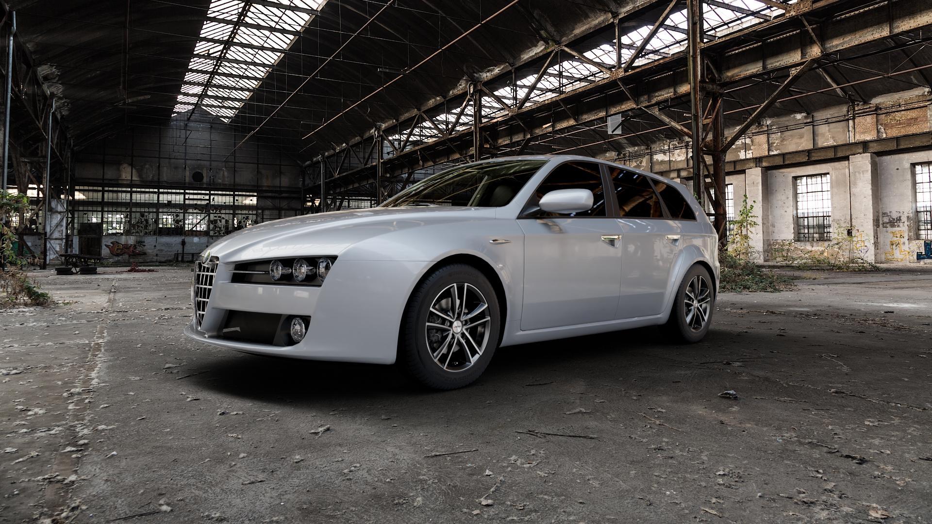 AUTEC Yucon Schwarz poliert Felge mit Reifen mehrfarbig in 16Zoll Alufelge auf silbernem Alfa Romeo 159 Sportwagon ⬇️ mit 15mm Tieferlegung ⬇️ Industriehalle 1 Camera_000