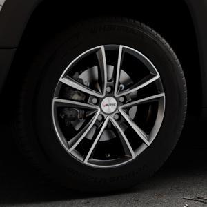 AUTEC Yucon Schwarz poliert Felge mit Reifen mehrfarbig in 16Zoll Alufelge auf silbernem Jeep Renegade Typ BU ⬇️ mit 15mm Tieferlegung ⬇️ Industriehalle 1 Thumbnail