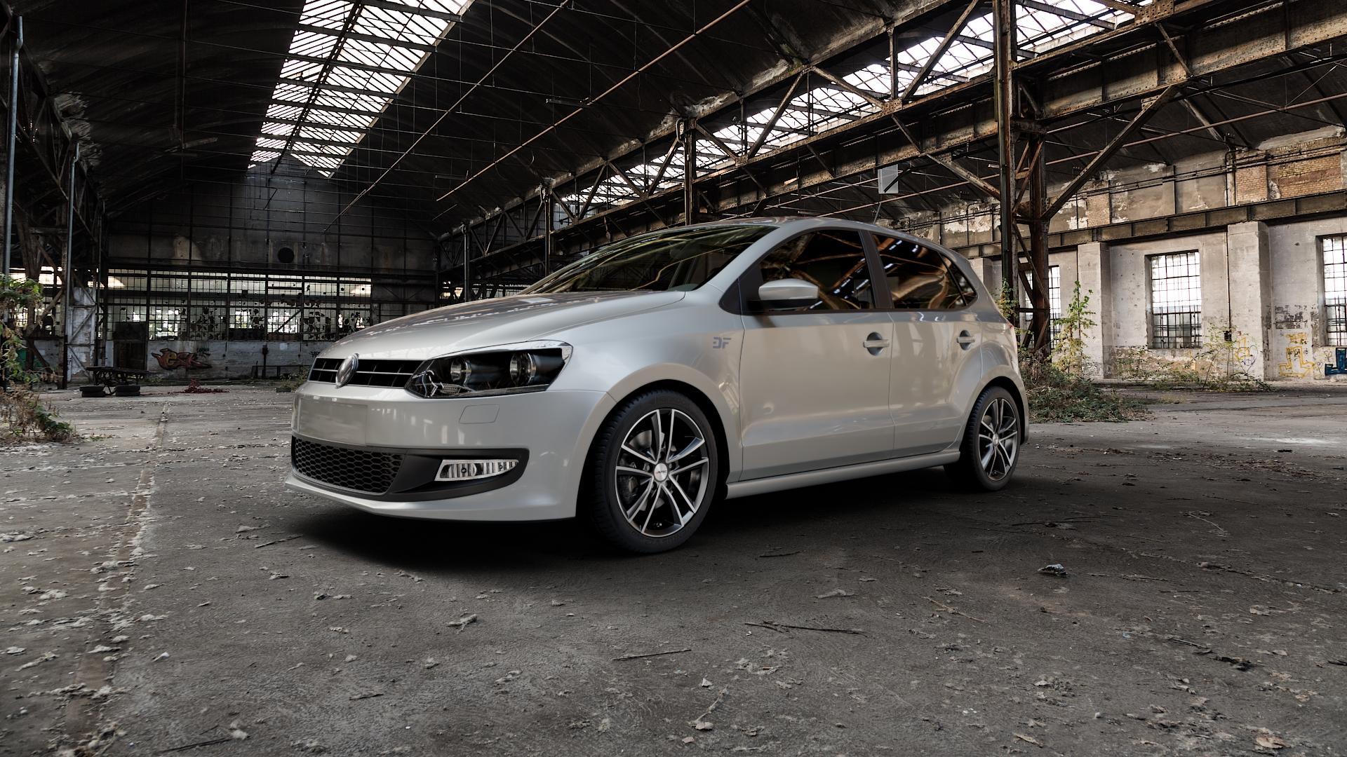 AUTEC Yucon Schwarz poliert Felge mit Reifen mehrfarbig in 16Zoll Alufelge auf silbernem Volkswagen (VW) Polo V Typ 6R ⬇️ mit 15mm Tieferlegung ⬇️ Industriehalle 1 Camera_000