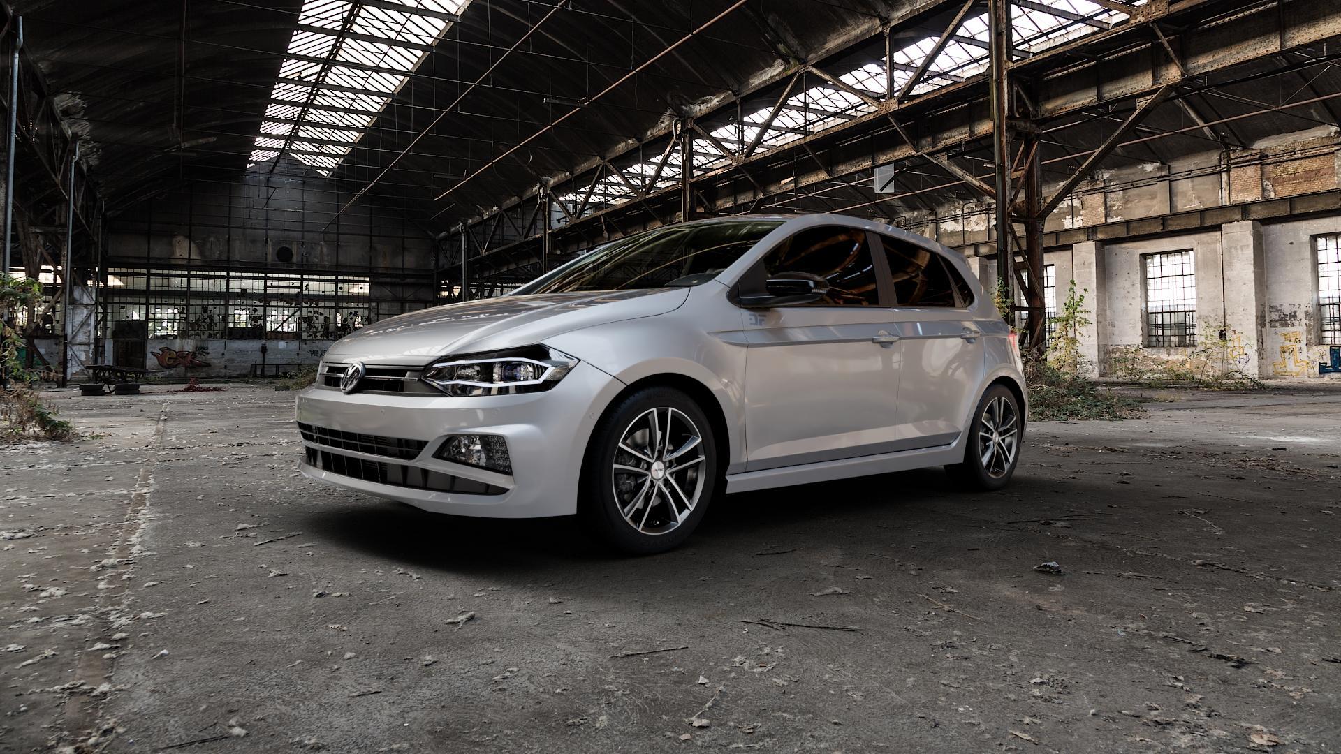 AUTEC Yucon Schwarz poliert Felge mit Reifen mehrfarbig in 16Zoll Alufelge auf silbernem Volkswagen (VW) Polo VI Typ AW ⬇️ mit 15mm Tieferlegung ⬇️ Industriehalle 1 Camera_000
