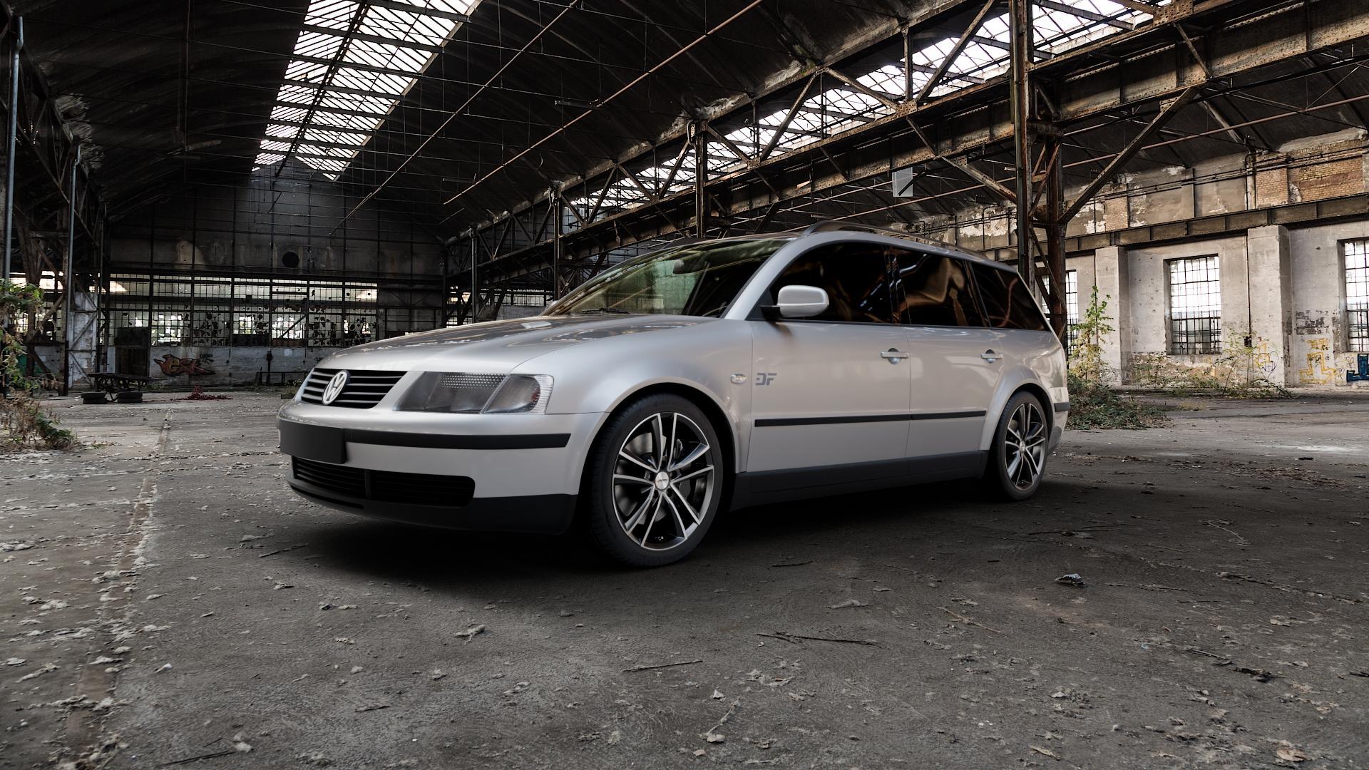 AUTEC Yucon Schwarz poliert Felge mit Reifen mehrfarbig in 17Zoll Alufelge auf silbernem Volkswagen (VW) Passat 3B Limousine Variant ⬇️ mit 15mm Tieferlegung ⬇️ Industriehalle 1 Camera_000