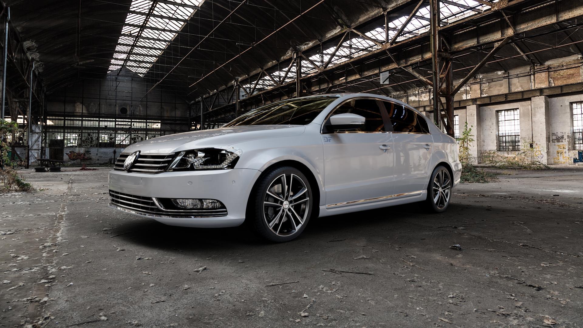 AUTEC Yucon Schwarz poliert Felge mit Reifen mehrfarbig in 18Zoll Alufelge auf silbernem Volkswagen (VW) Passat 3C/B7 Limousine ⬇️ mit 15mm Tieferlegung ⬇️ Industriehalle 1 Camera_000