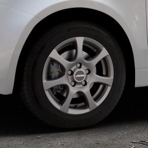 AUTEC Zenit Anthrazit matt lackiert Felge mit Reifen grau in 14Zoll Winterfelge Alufelge auf silbernem Fiat 500 Typ 312 Cabrio Facelift ⬇️ mit 15mm Tieferlegung ⬇️ Industriehalle 1 Thumbnail