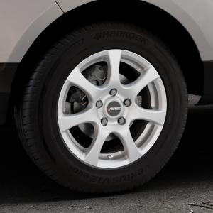AUTEC Zenit Brillantsilber lackiert Felge mit Reifen in 15Zoll Winterfelge Alufelge auf silbernem Ford EcoSport Typ JK8 ⬇️ mit 15mm Tieferlegung ⬇️ Industriehalle 1 Thumbnail