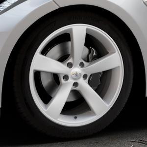 AVUS Racing AF10 HYPER SILVER Felge mit Reifen silber in 19Zoll Winterfelge Alufelge auf silbernem Tesla Model S Typ 002 ⬇️ mit 15mm Tieferlegung ⬇️ Industriehalle 1 Thumbnail