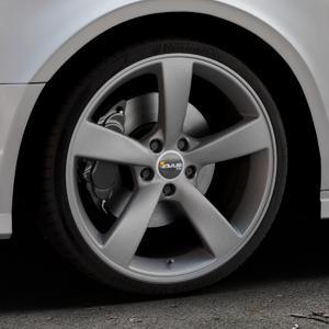 AVUS Racing AF10 MATT ANTHRACITE Felge mit Reifen grau anthrazit in 19Zoll Winterfelge Alufelge auf silbernem Audi A3 Typ 8V (Limousine) Facelift ⬇️ mit 15mm Tieferlegung ⬇️ Industriehalle 1 Thumbnail