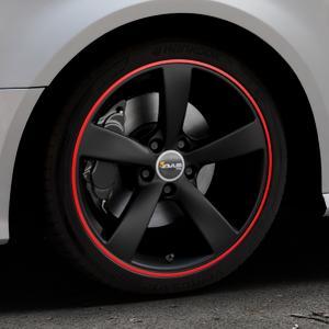 AVUS Racing AF10 MATT BLACK RED LINE Felge mit Reifen schwarz rot farbige Outline in 18Zoll Alufelge auf silbernem Audi A3 Typ 8V Facelift ⬇️ mit 15mm Tieferlegung ⬇️ Industriehalle 1 Thumbnail