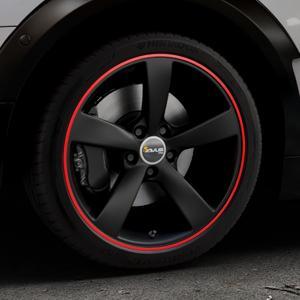 AVUS Racing AF10 MATT BLACK RED LINE Felge mit Reifen schwarz rot farbige Outline in 18Zoll Alufelge auf silbernem Mini F54 Typ UKL-L (Clubman) FMK ⬇️ mit 15mm Tieferlegung ⬇️ Industriehalle 1 Thumbnail