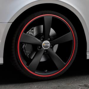 AVUS Racing AF10 MATT BLACK RED LINE Felge mit Reifen schwarz rot farbige Outline in 19Zoll Alufelge auf silbernem Audi A3 Typ 8V (Limousine) Facelift ⬇️ mit 15mm Tieferlegung ⬇️ Industriehalle 1 Thumbnail