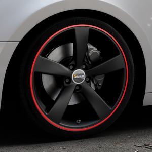 AVUS Racing AF10 Matt Black Red Line Felge mit Reifen schwarz rot farbige Outline in 19Zoll Alufelge auf silbernem Audi A4 Typ B9 (Avant) ⬇️ mit 15mm Tieferlegung ⬇️ Industriehalle 1 Thumbnail