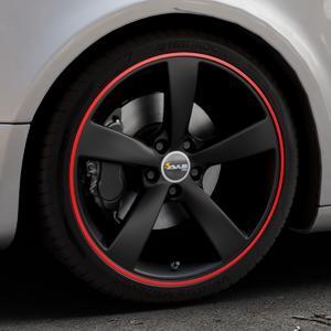 AVUS Racing AF10 MATT BLACK RED LINE Felge mit Reifen schwarz rot farbige Outline in 19Zoll Alufelge auf silbernem Audi A5 Typ B8 (Sportback) ⬇️ mit 15mm Tieferlegung ⬇️ Industriehalle 1 Thumbnail