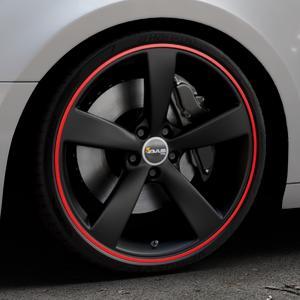 AVUS Racing AF10 MATT BLACK RED LINE Felge mit Reifen schwarz rot farbige Outline in 20Zoll Alufelge auf silbernem Audi A4 Typ B9 (Avant) ⬇️ mit 15mm Tieferlegung ⬇️ Industriehalle 1 Thumbnail