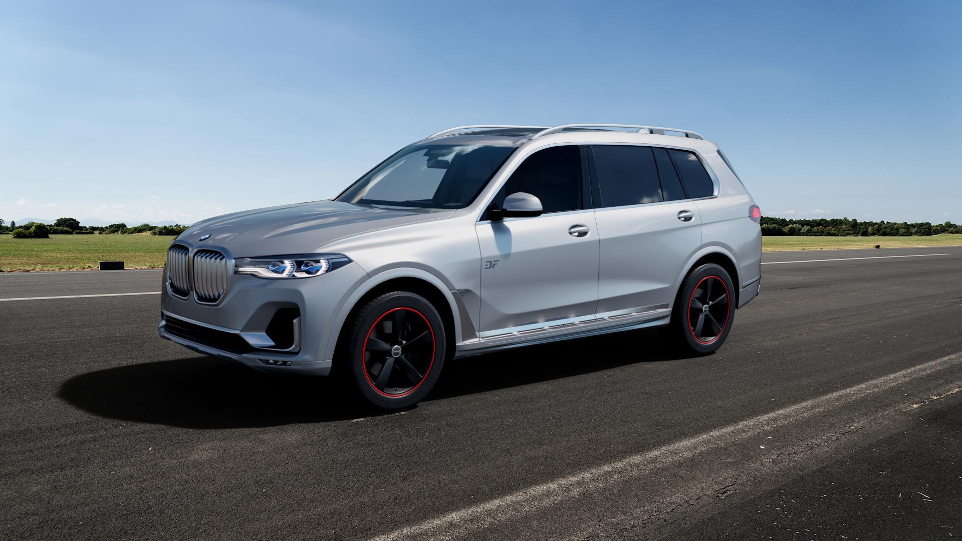 AVUS Racing AF10 MATT BLACK RED LINE Felge mit Reifen schwarz rot farbige Outline in 20Zoll Alufelge auf silbernem BMW X7 Typ G07 (G7X) ⬇️ mit 15mm Tieferlegung ⬇️ Big_Vehicle_Airstrip_1 Frontansicht_1